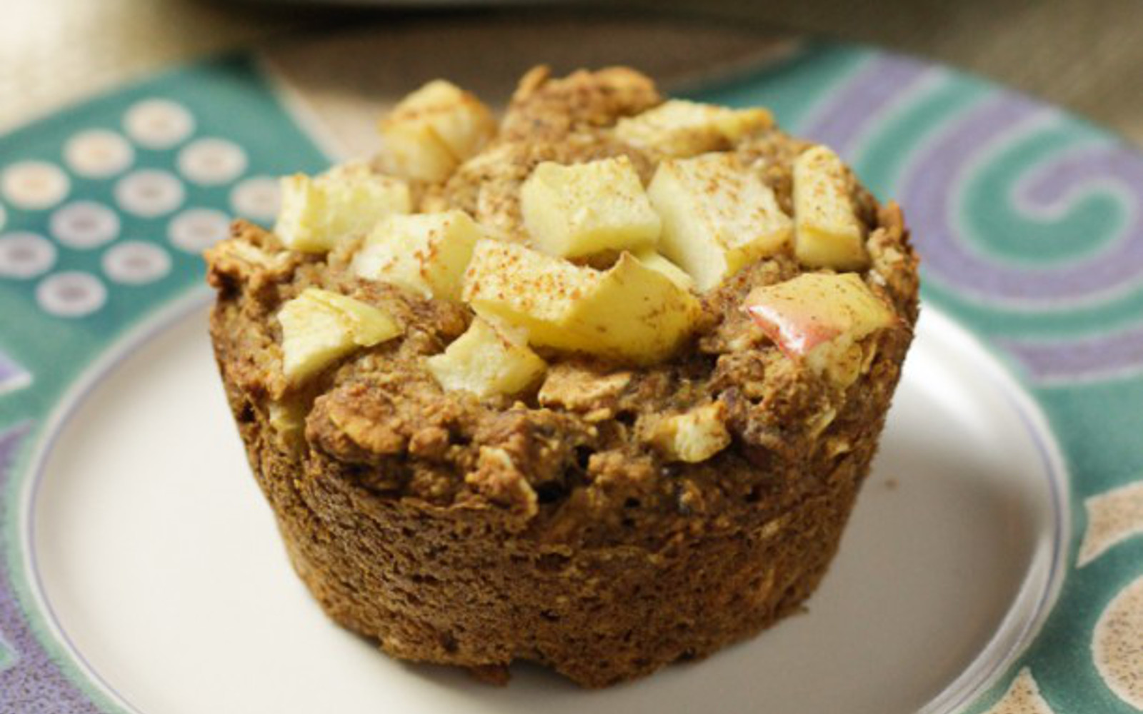 Vegan Chai Spice Apple Muffins with fresh apple topping