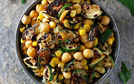 Vegan Whole Food Plant Based Gluten-Free 5-Ingredient Charred Zucchini Salad with caramelized onions, chickpeas, and corn