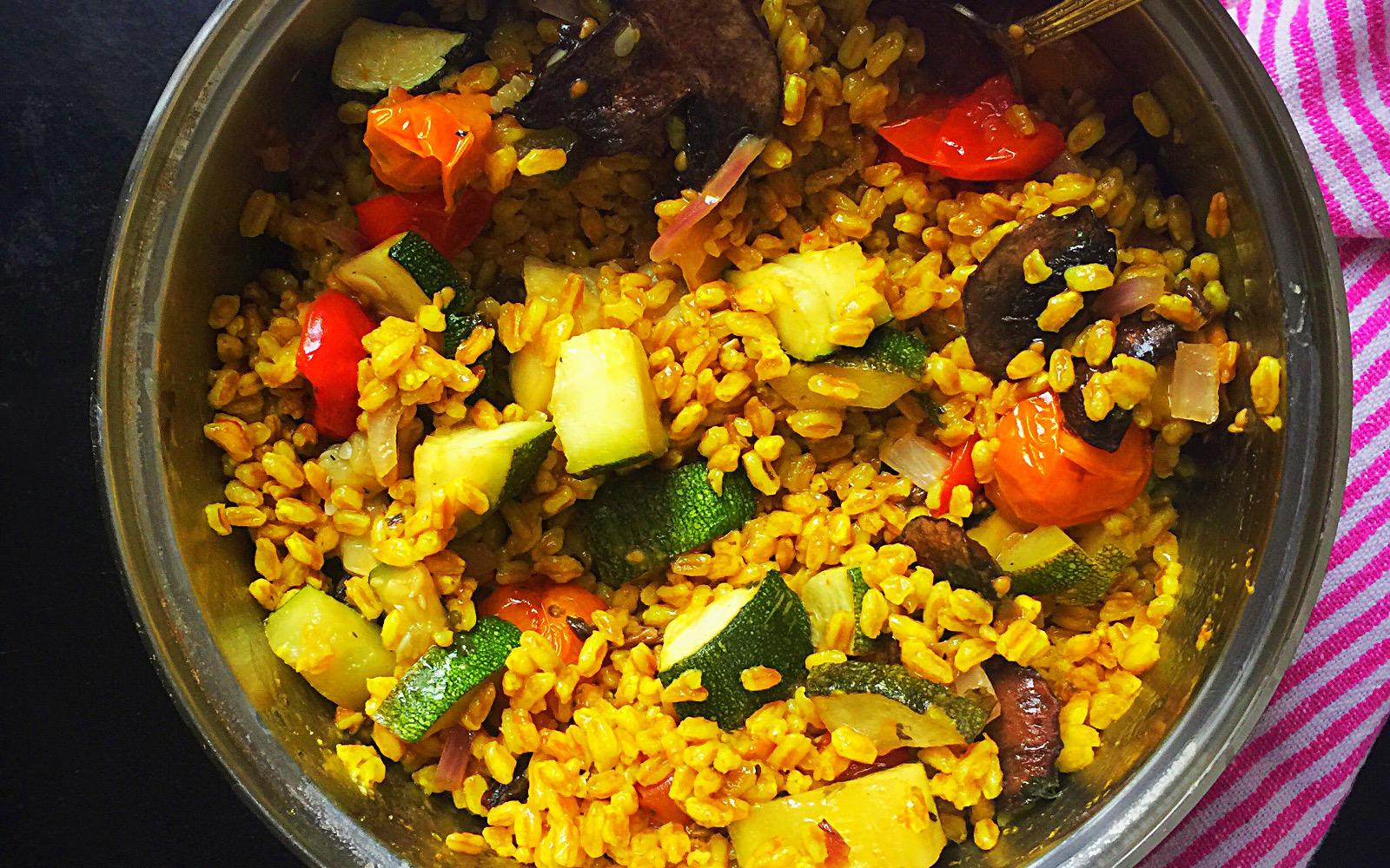 Vegan Turmeric Farro with Roasted Vegetables