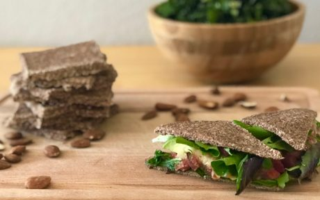Vegan, Gluten-Free, Paleo Dehydrated Almond Bread with a sandwhich