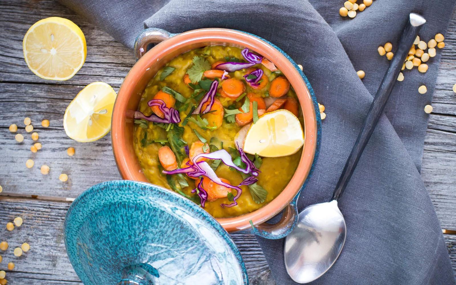 Vegan Gluten-Free instant pot green kichari with carrots, lemons, and purple cabbage