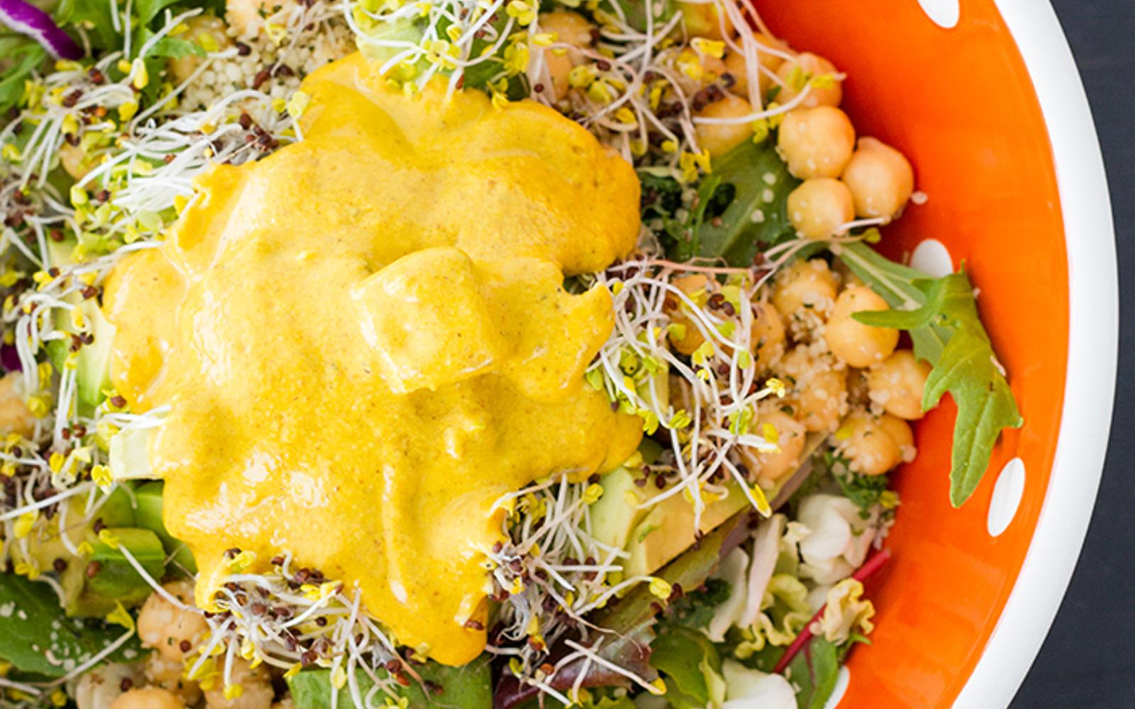Vegan Almond Butter Turmeric Dressing over salad