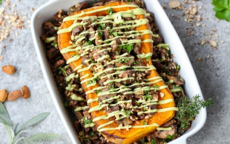 Roasted Butternut Squash With Mushroom Stuffing