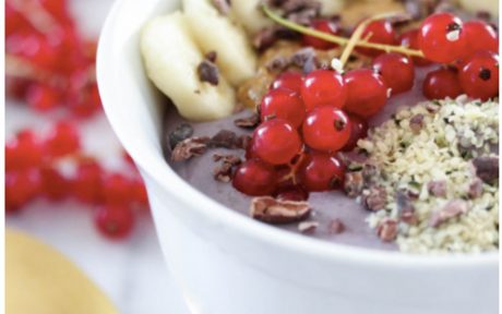 Vegan Gluten-Free Protein Açaí and Red Currant Breakfast Bowl with banana and coconut