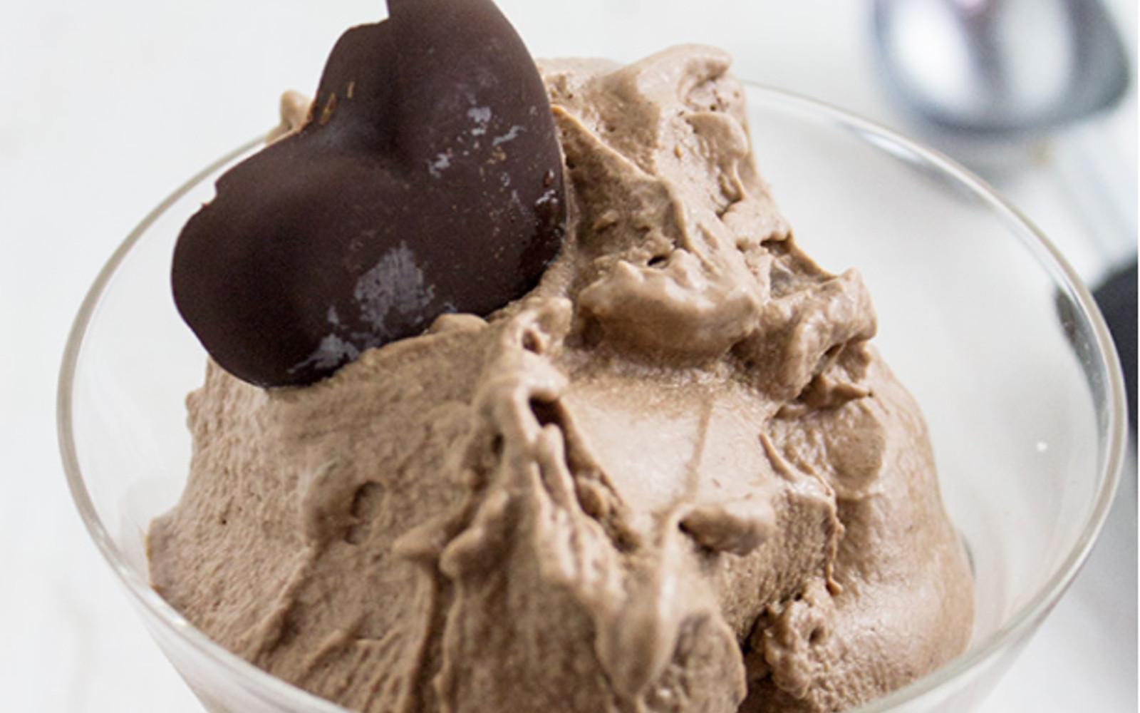 Vegan Paleo Chocolate Ice Cream with chocolate topping