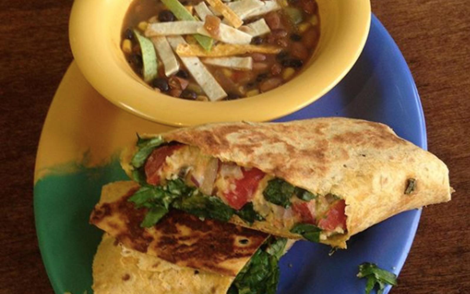 Vegan Tuna Wrap & a bowl of Tortilla Soup