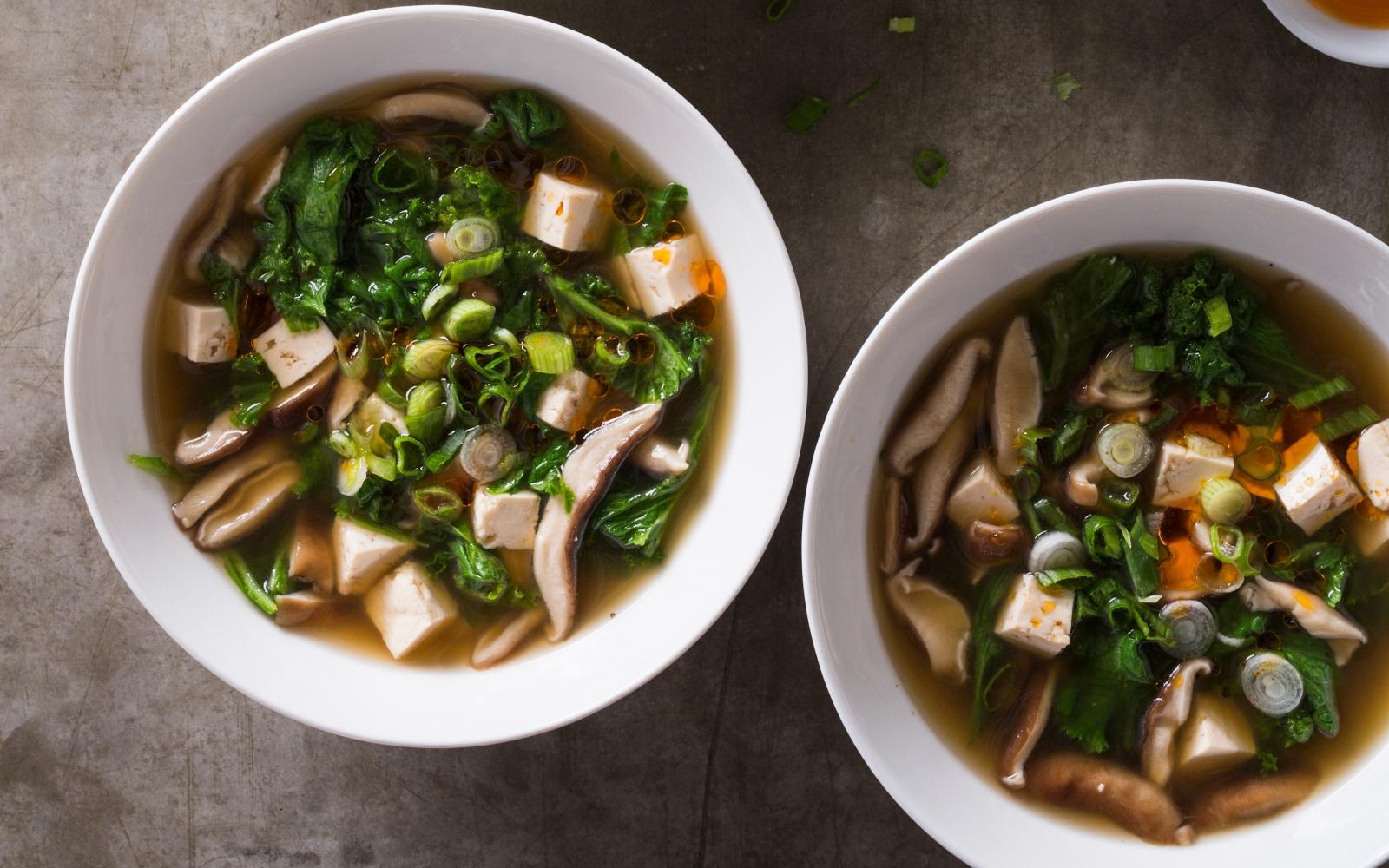 Vegan Shiitake Tofu and Mustard Greens Soup