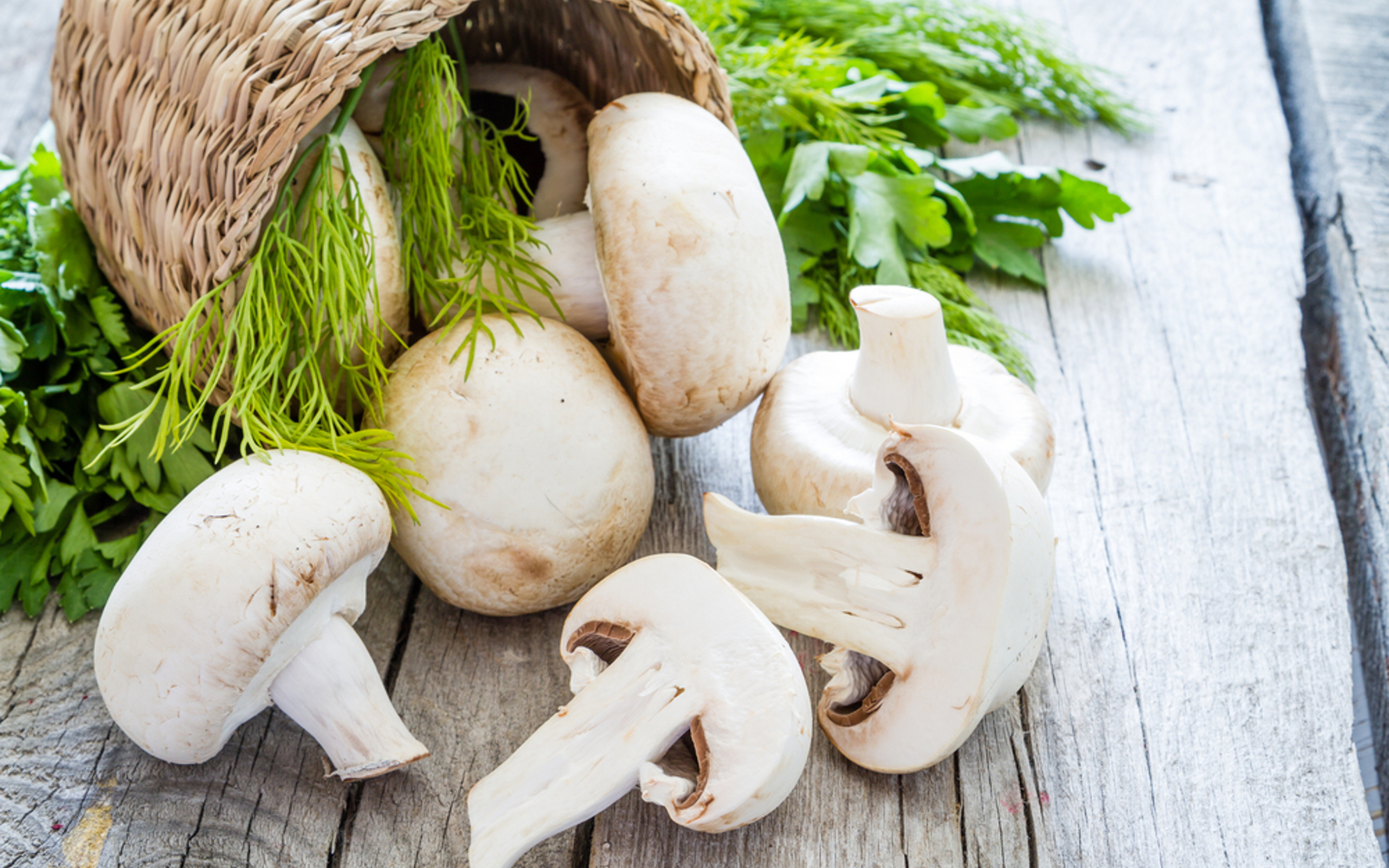 White button mushrooms fresh with herbs