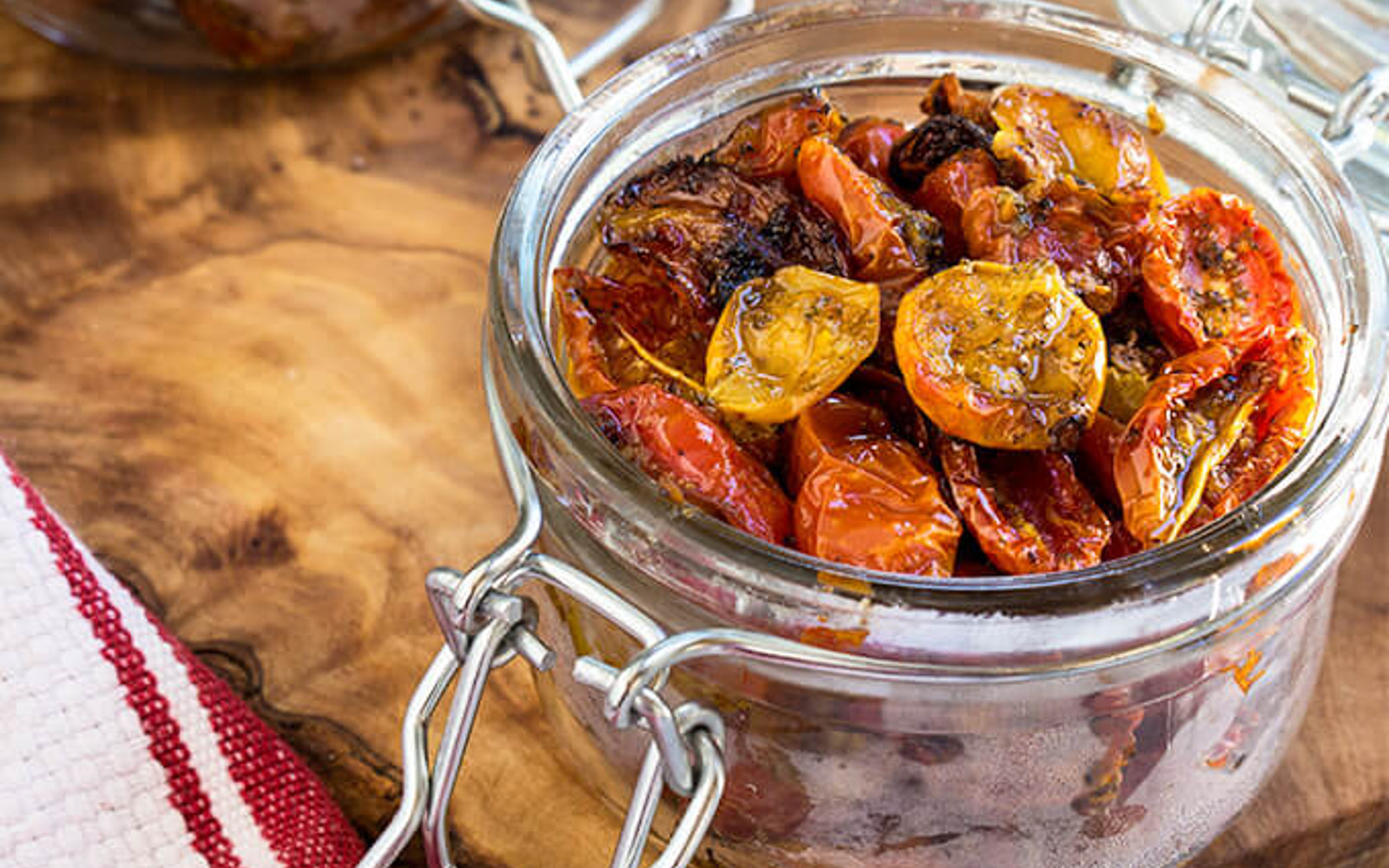 Vegan Gluten-Free Slow-Roasted Garlic and Herb Tomatoes in storage jar