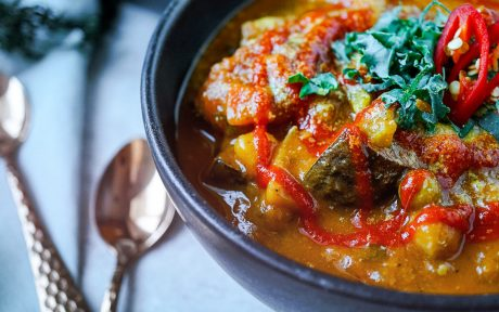 Vegna GLuten-Free Spicy Acorn Squash and Bean Soup with hot sauce