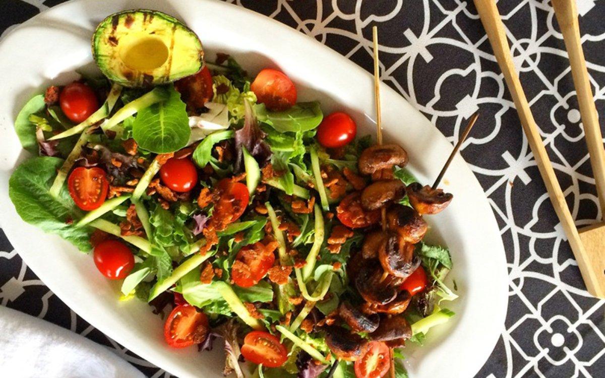 Tempeh Bacon Salad with Marinated Mushrooms