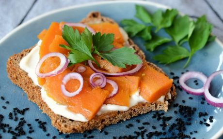 Vegan Smoked Carrot 'Salmon' Sandwiches on sourdough bread, with dairy-free cream cheese