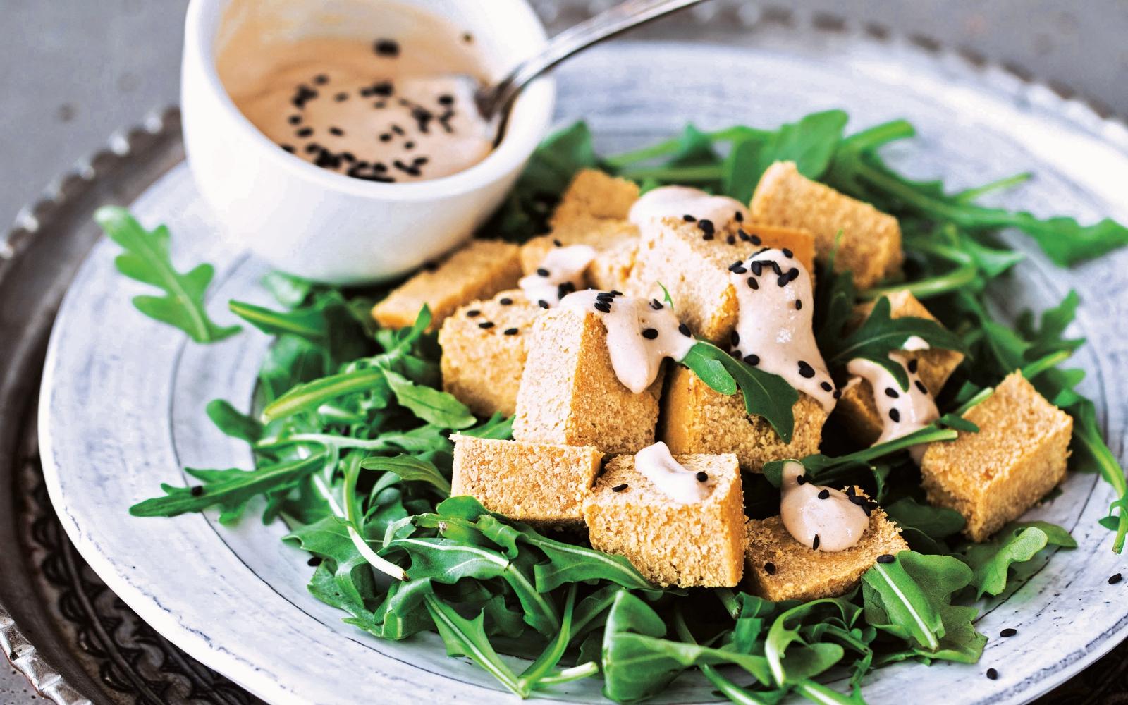 Vegan Chickpea Tofu With Tahini Sauce