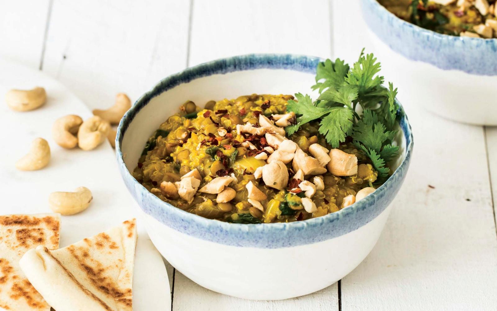Vegan Creamy Curried Lentils and Quinoa