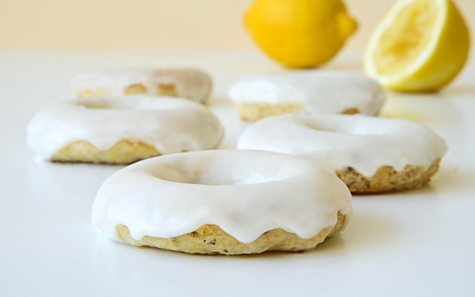 Vegan Lemon Baked Donuts with fresh lemons