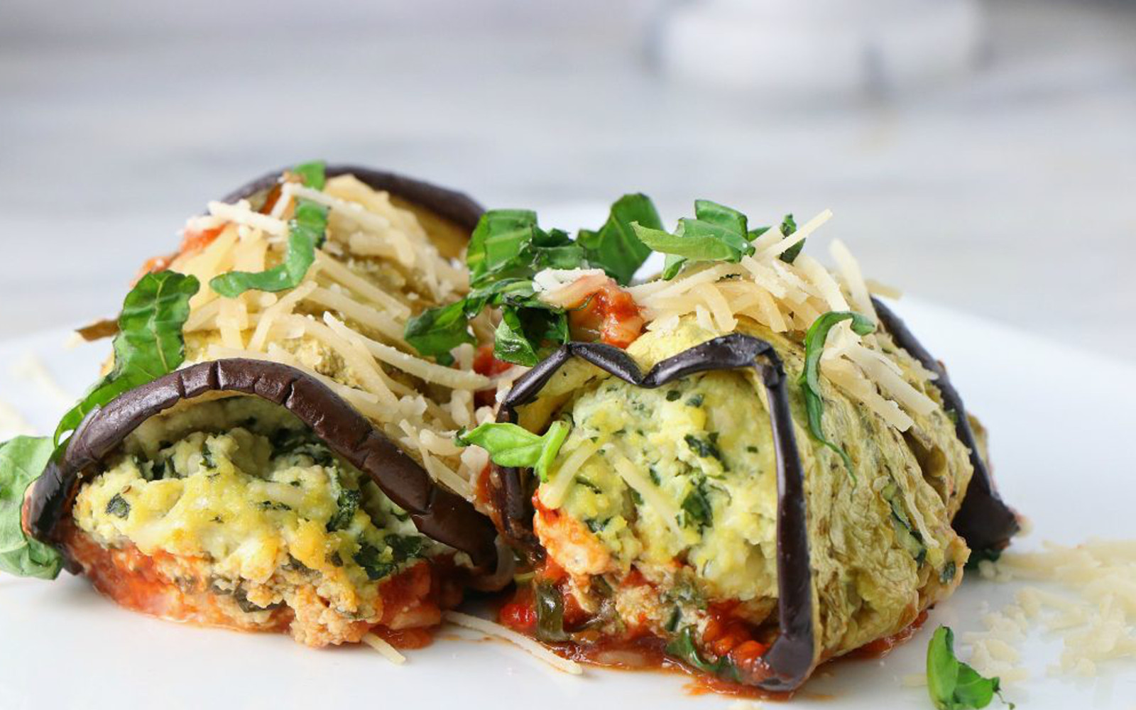 Vegan Eggplant Rollatini with Basil Tofu Ricotta with vegan cheese