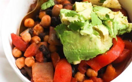 Vegan Gluten-Free One-Pot Spicy Three Bean Chili with avocado