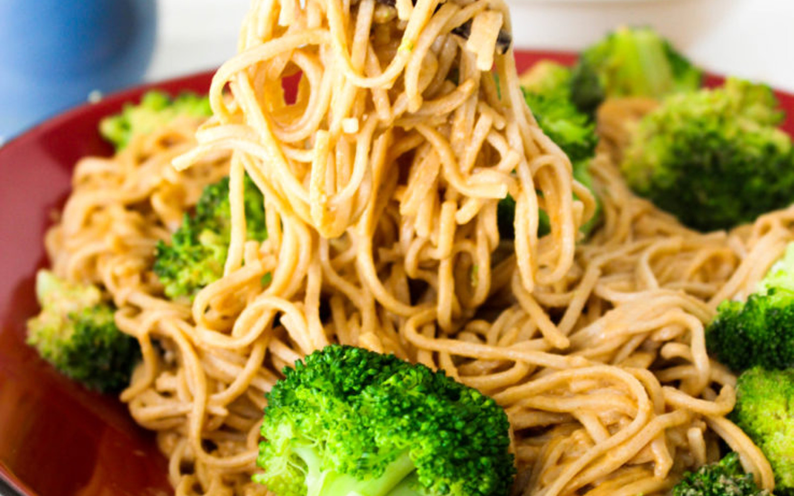 Vegan Peanut Butter Soba Noodles with broccoli