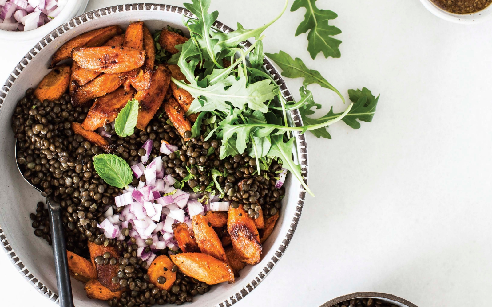 Vegan Masala Lentil Salad With Cumin Roasted Carrots