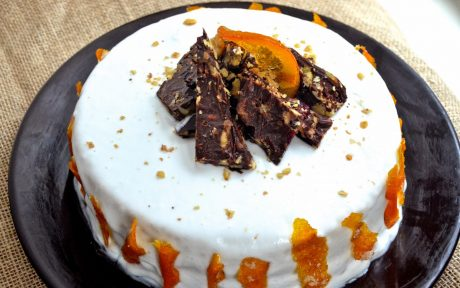 Orange Creamsicle Cake With Candied Orange Peel [Vegan]