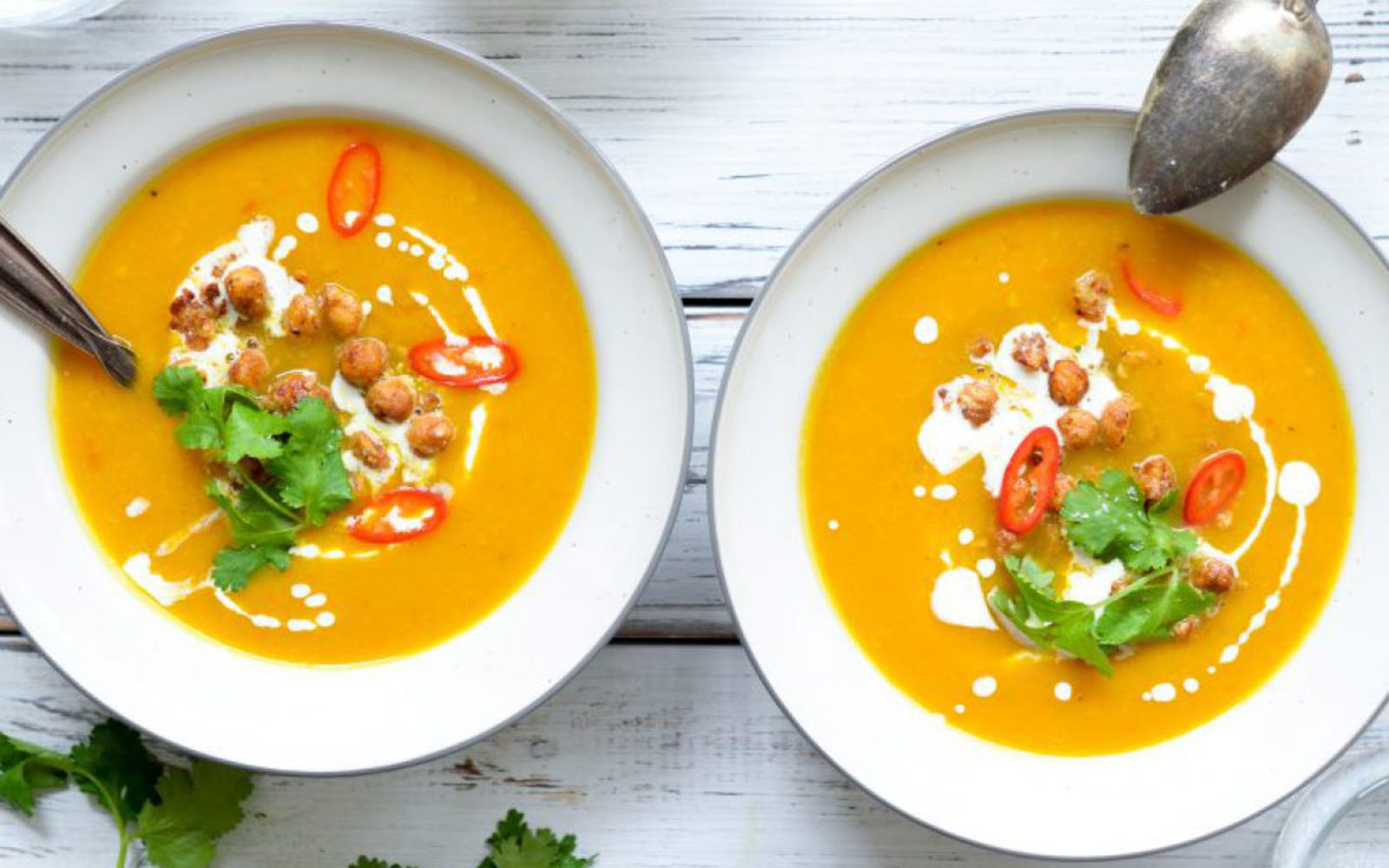 Thai Pumpkin Soup With Peanut Butter Roasted Chickpeas
