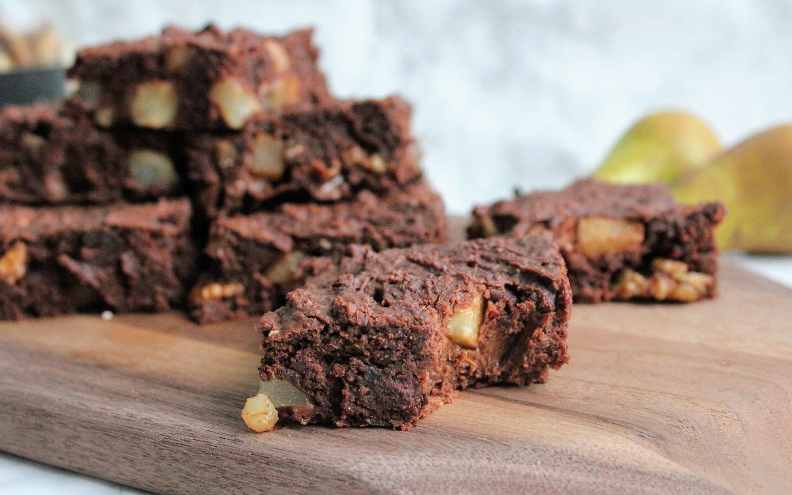 Vegan Fudgy Pear and Walnut Brownies
