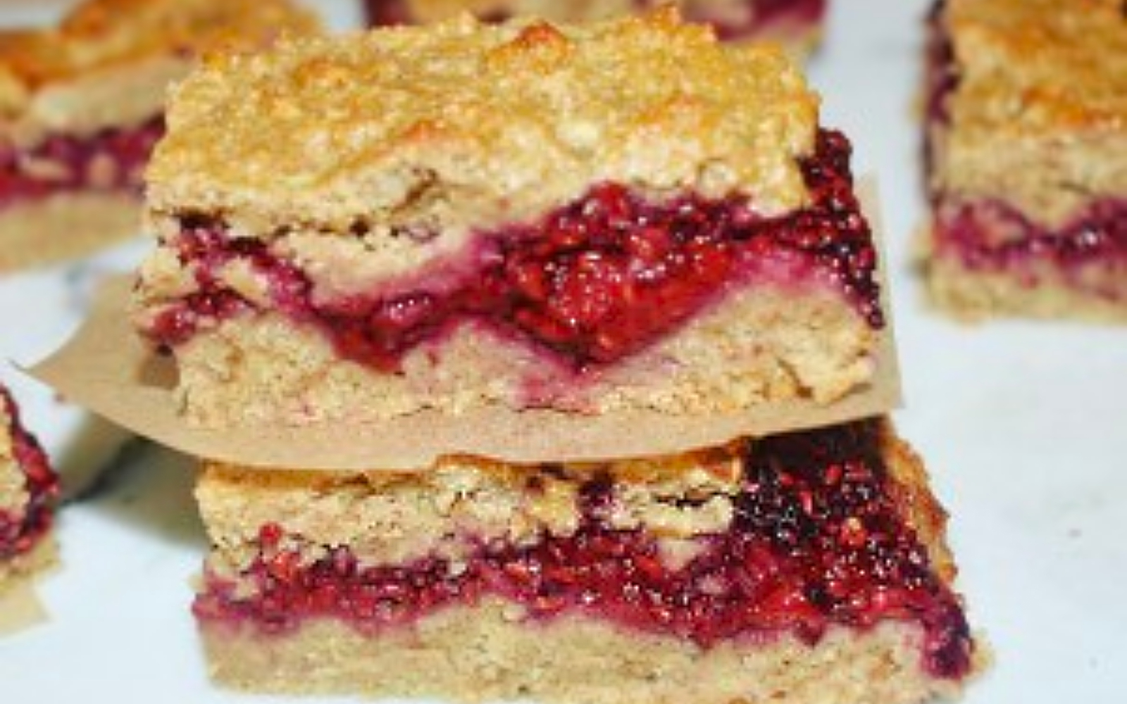 Vegan Gluten-free Raspberry and Chia Jam Oat Bars