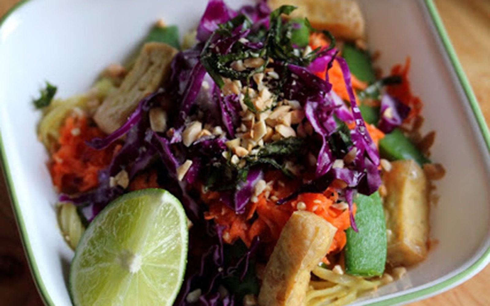 Colorful Peanut Tofu Veggie Bowl With Glass Noodles