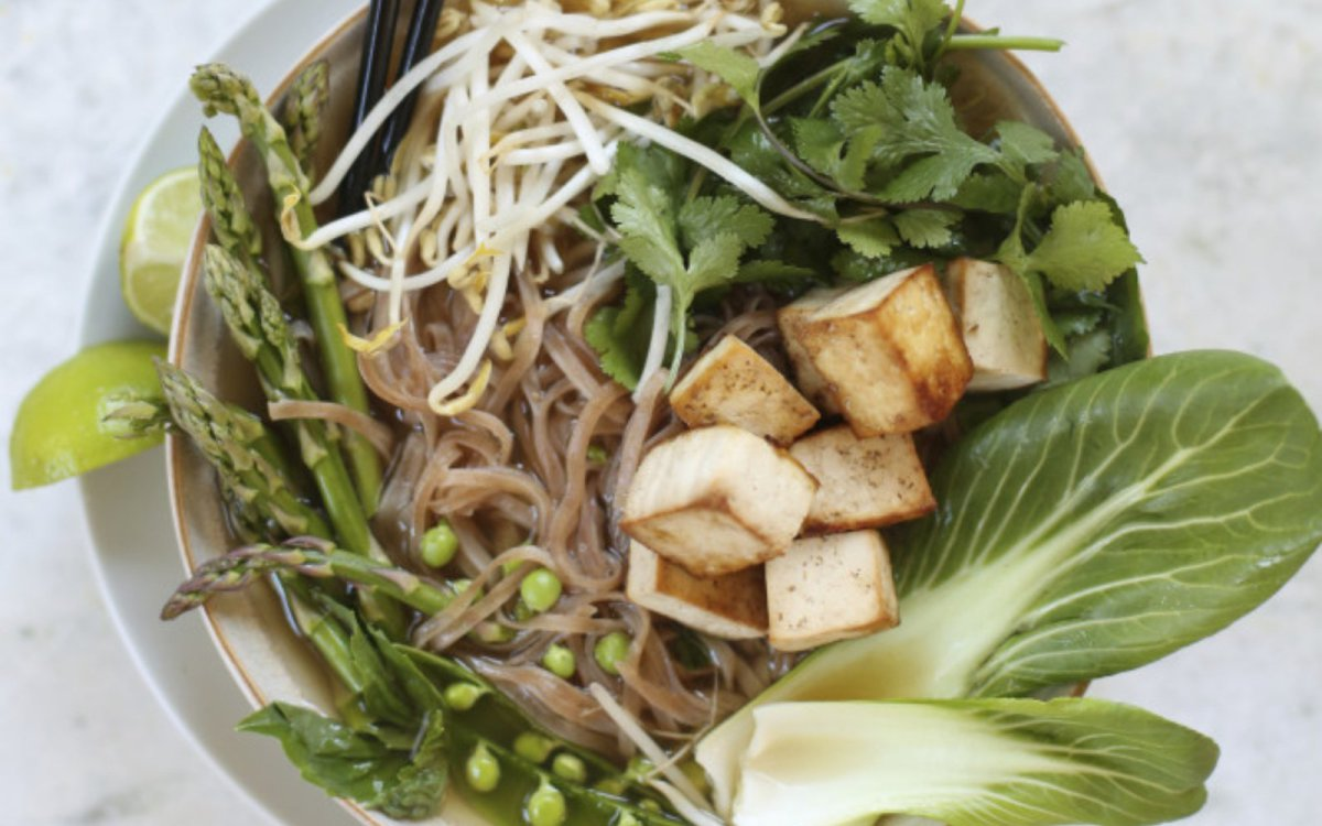 Vegan Comforting Veggie and Tofu Pho with asparagus