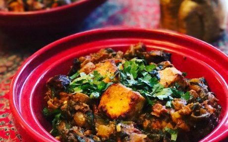 Vegan Tofu Tikka Masala With Mushroom and Spinach