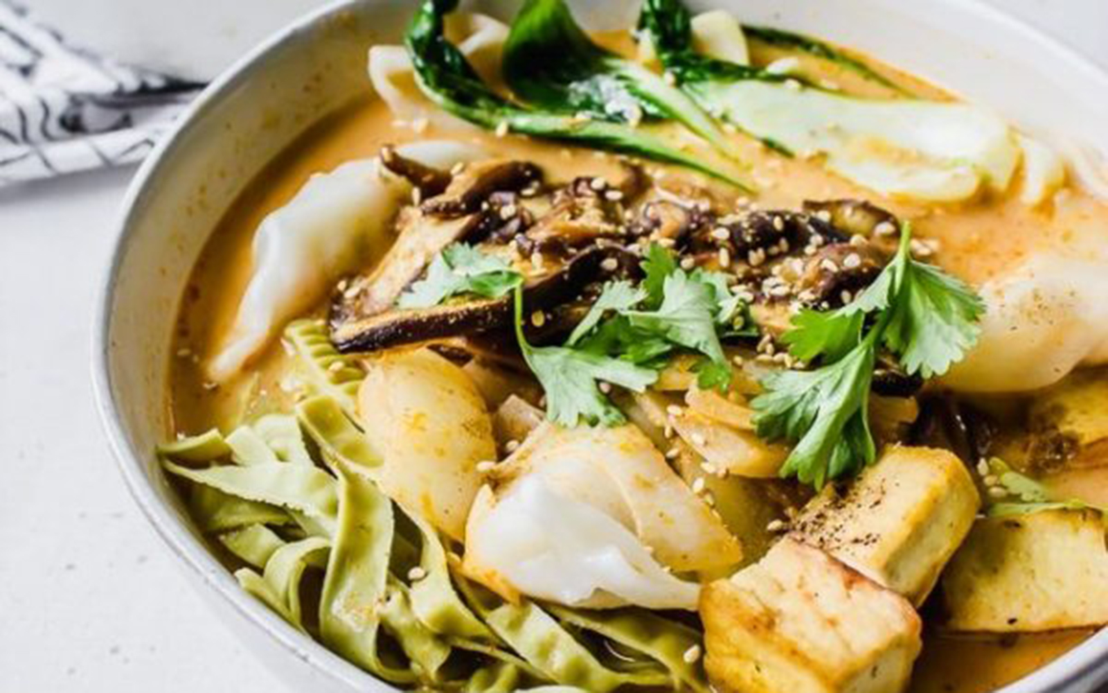 Baby Bok Choy and Shiitake Red Curry Soup