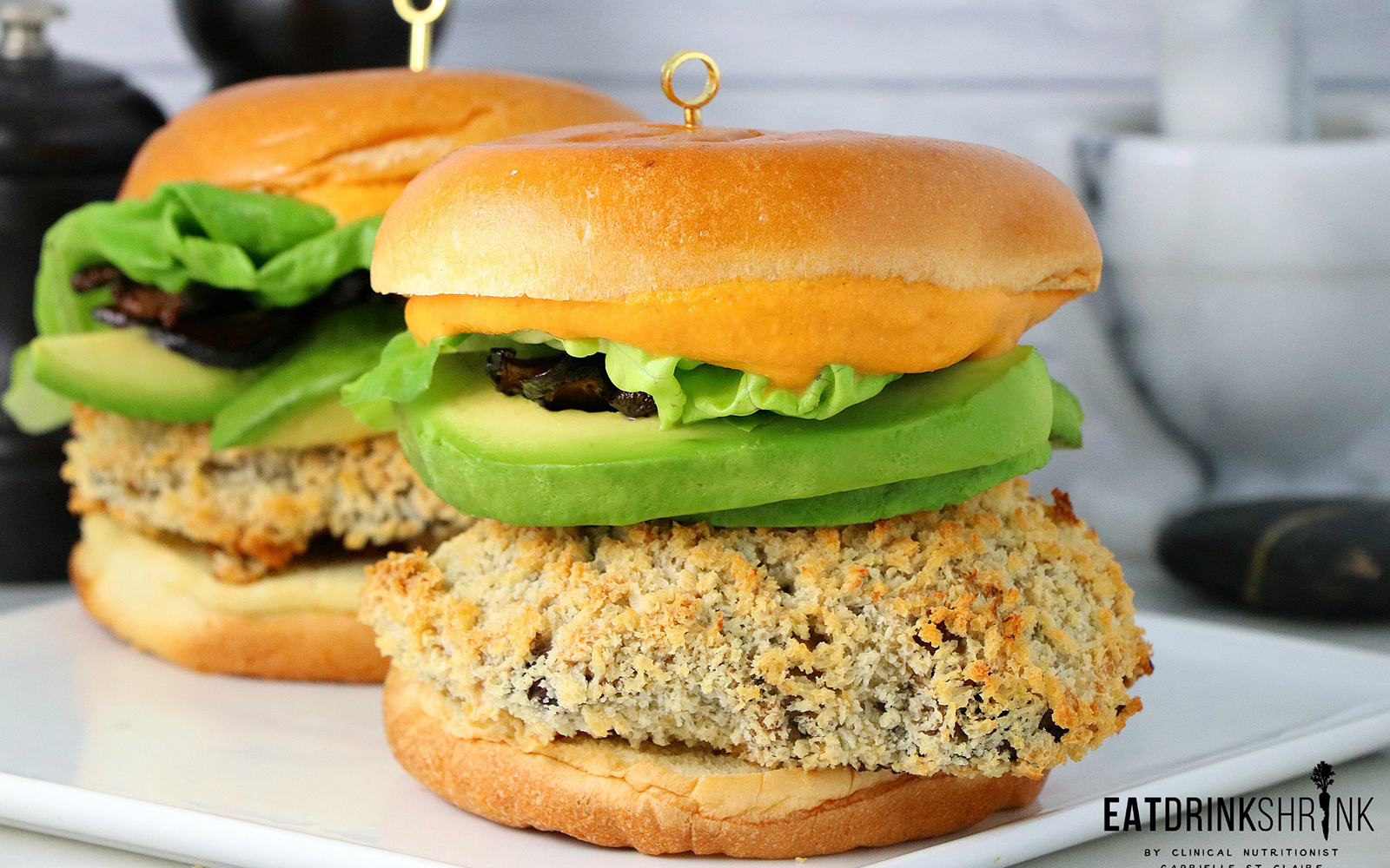 Beer-battered meatless mushroom burger