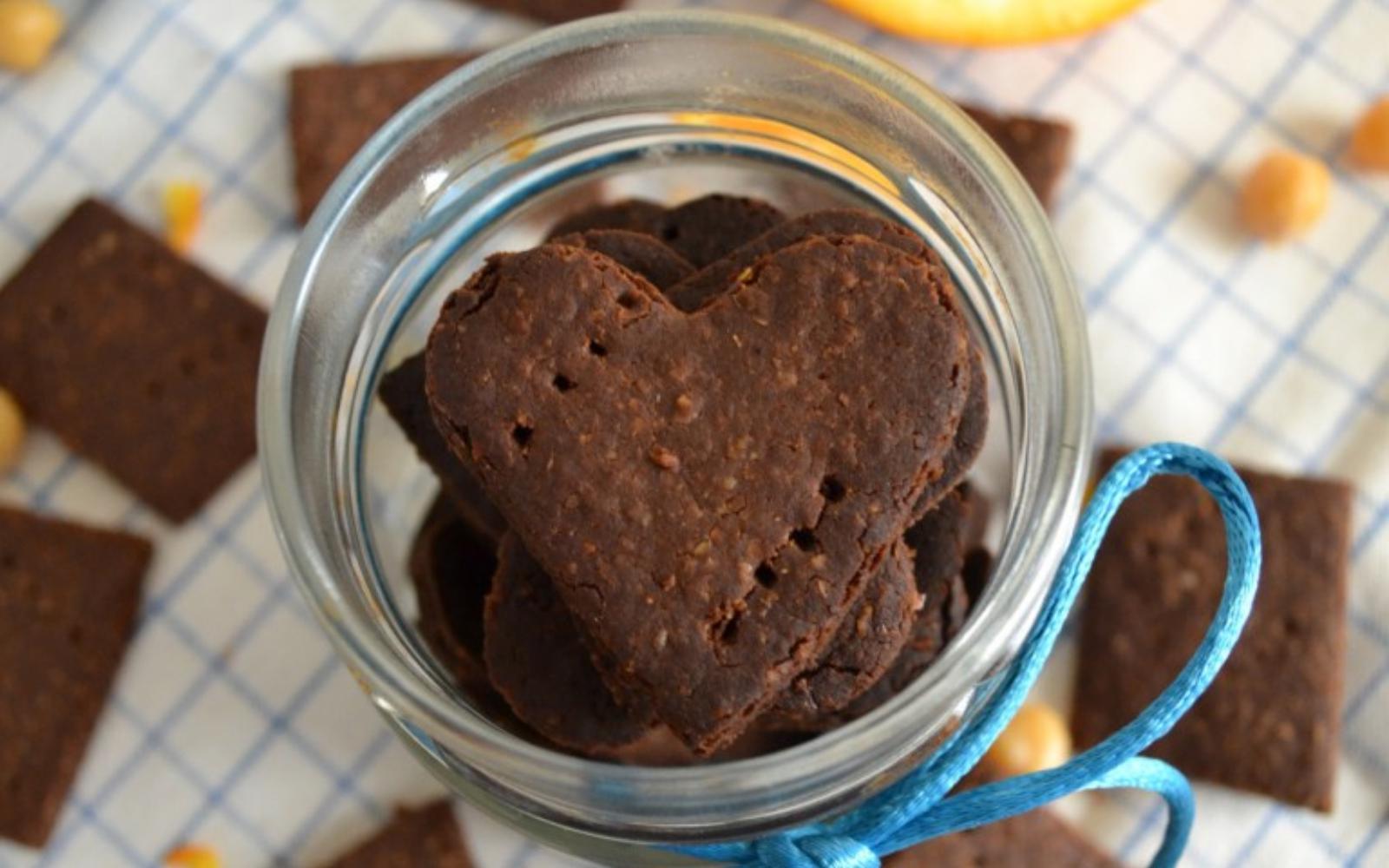 Heart-shaped chocolate orange cookies