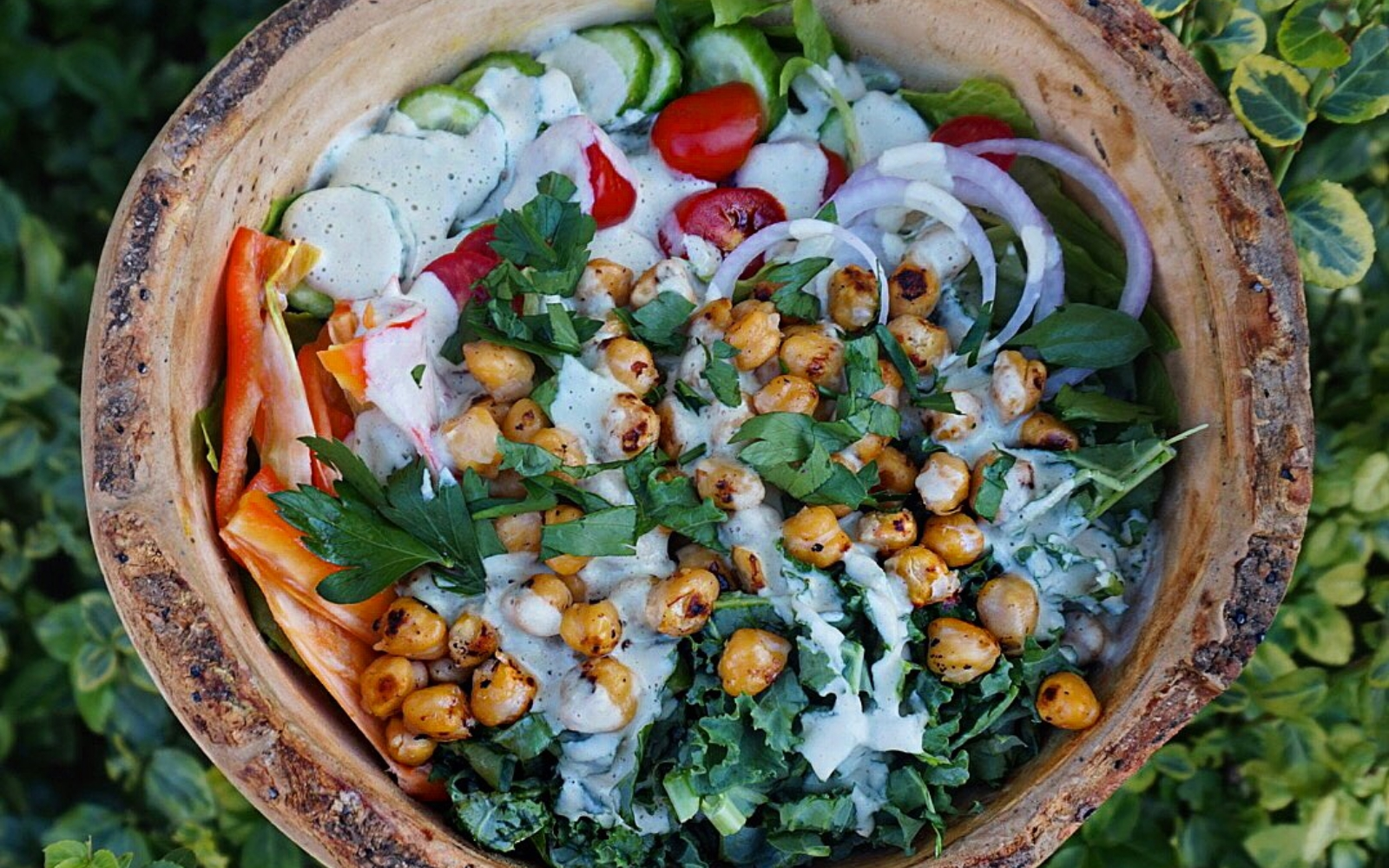 Protein-Packed Chickpea and Kale Caesar Salad