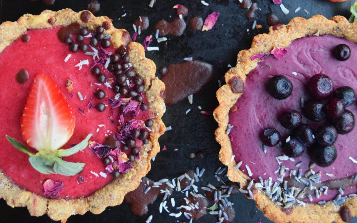 Strawberry Rose and Berry Lavender Tarts [Vegan, Gluten-Free]