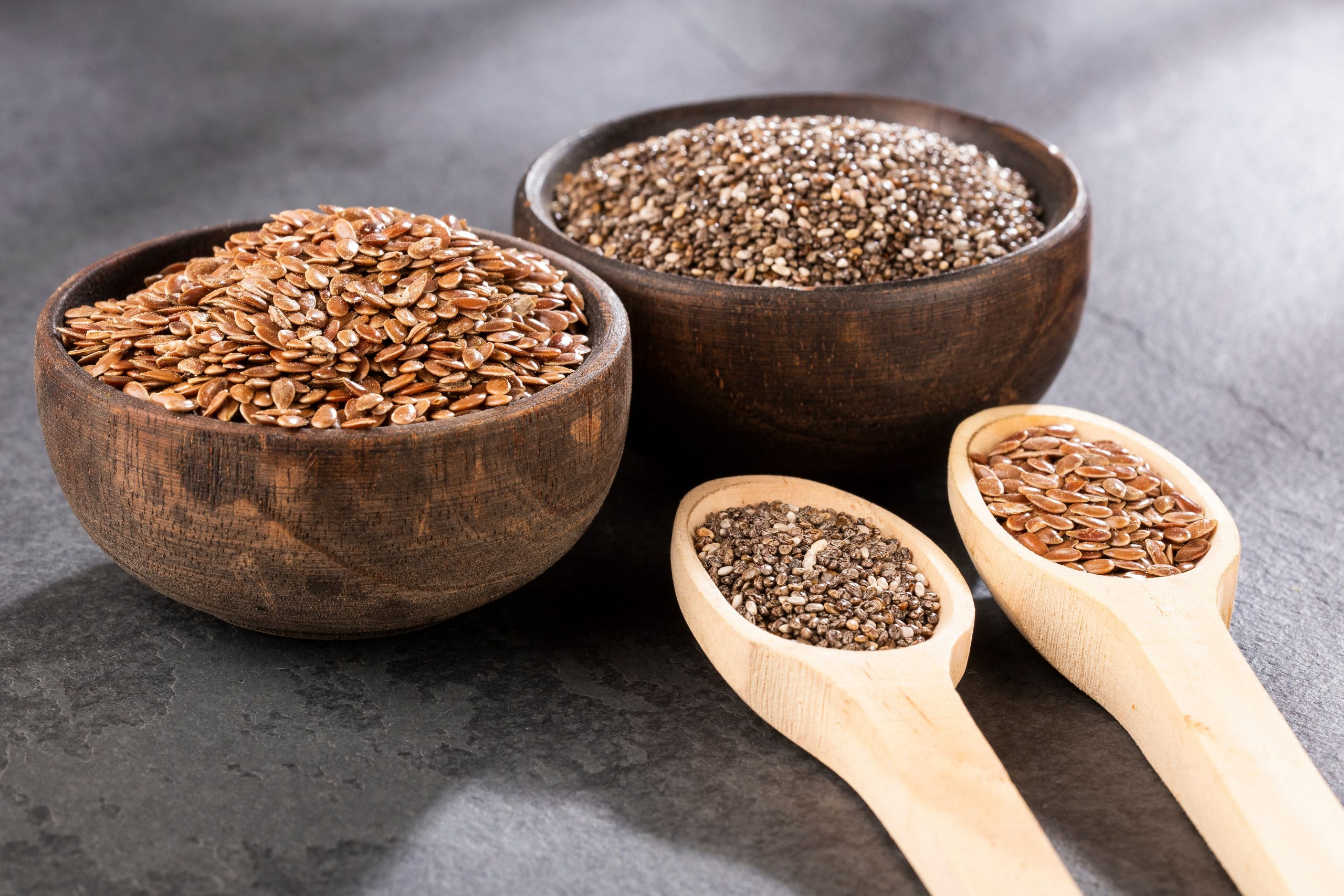 flaxseeds and chia seeds