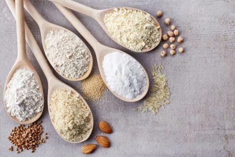 Gluten-free flours on spoons