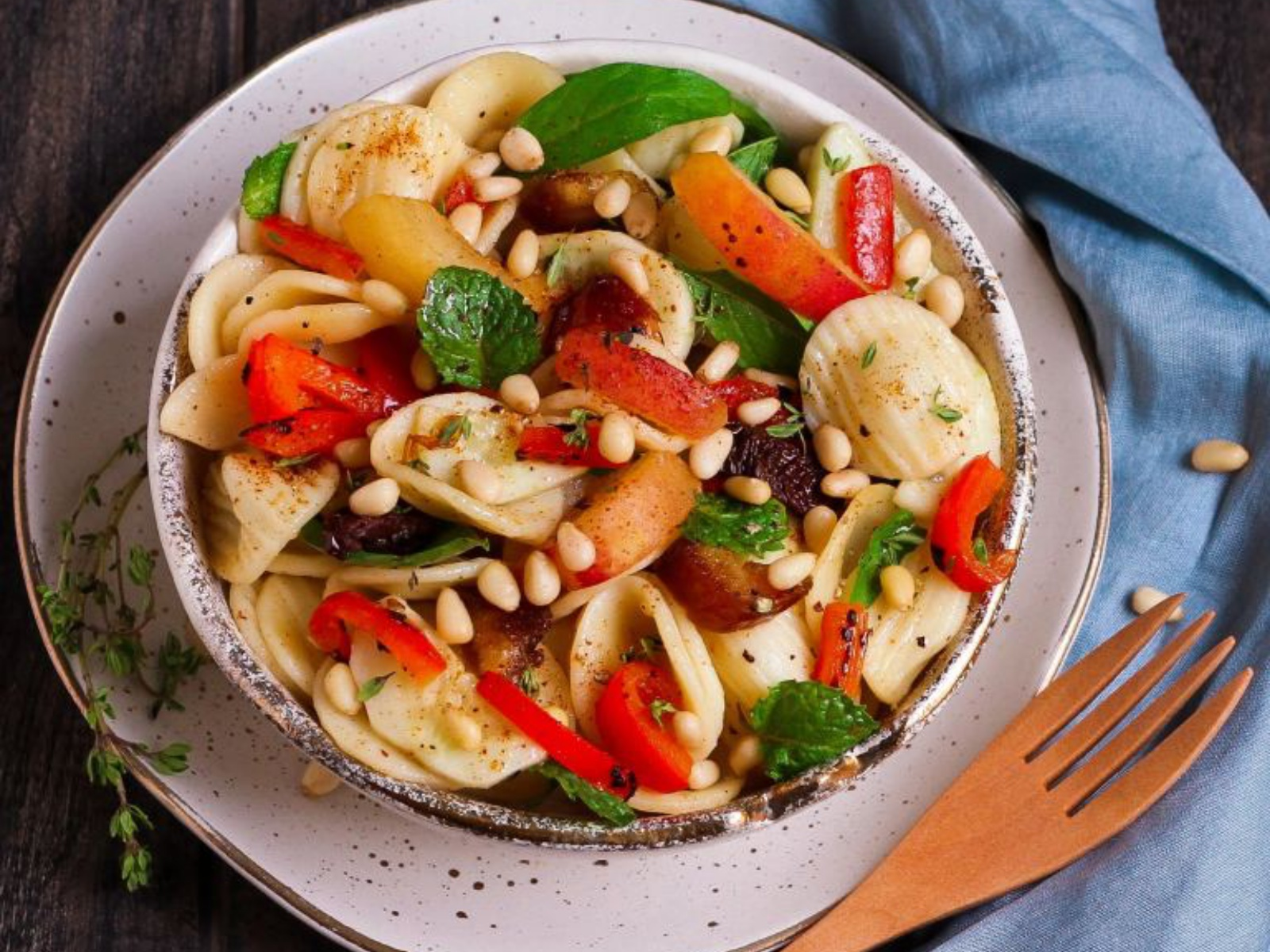 Apricot and Date Pasta Salad with fresh veggies