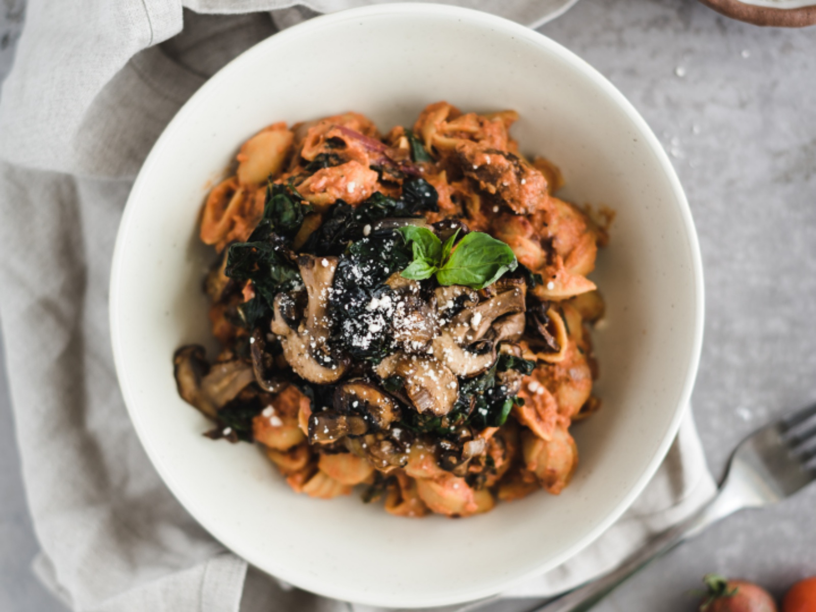 Mushroom and Swiss Chard Pasta with Creamy Rose Sauce