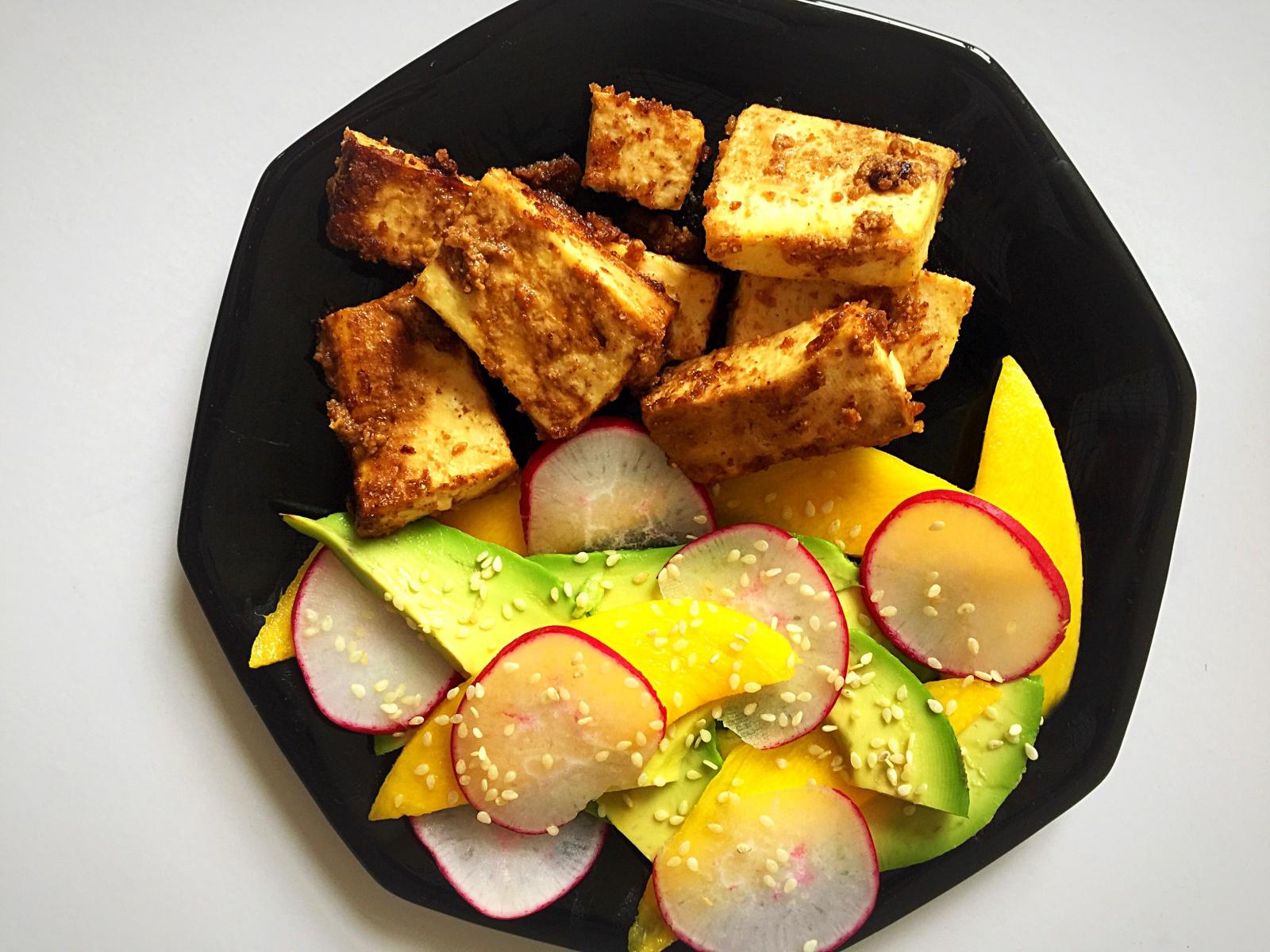 Vegan almond butter tofu mango avocado salad
