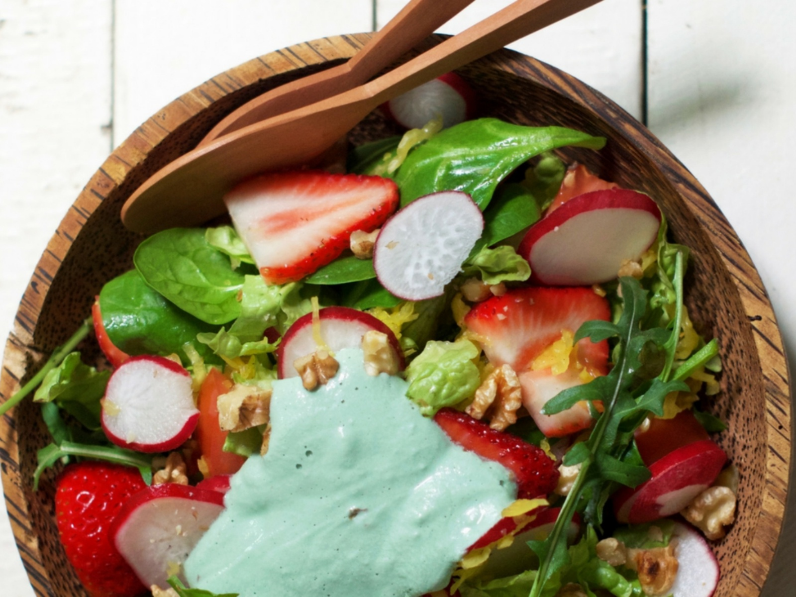 Strawberry and Radish Salad with Green Superfood Dressing