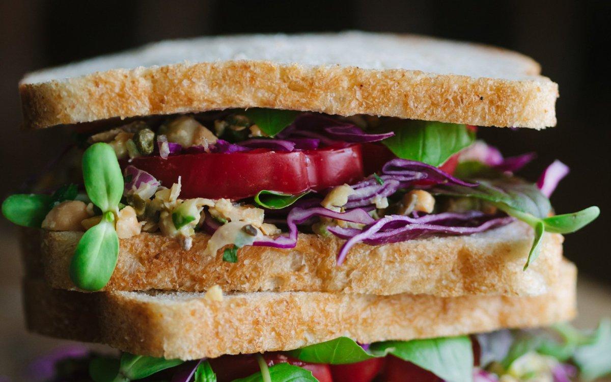 White bean plant-based tuna sandwich