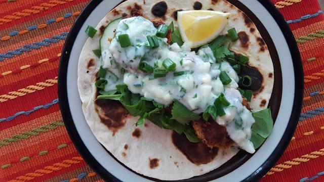 Falafel wraps with vegan tzatziki sauce