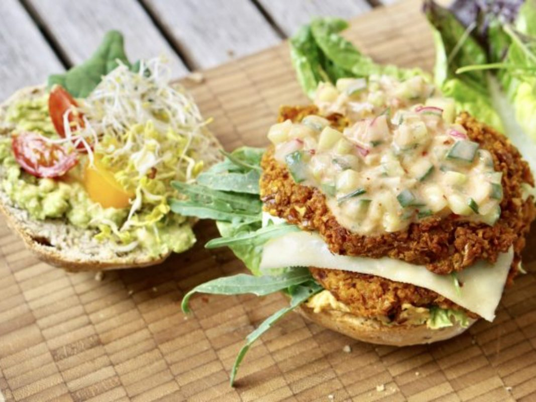 Sweet Potato Seitan Burger with Cucumber Yogurt Sauce