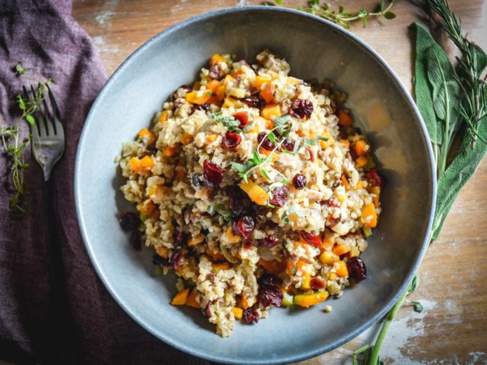 Vegan Cauliflower Cranberry Sage Stuffing
