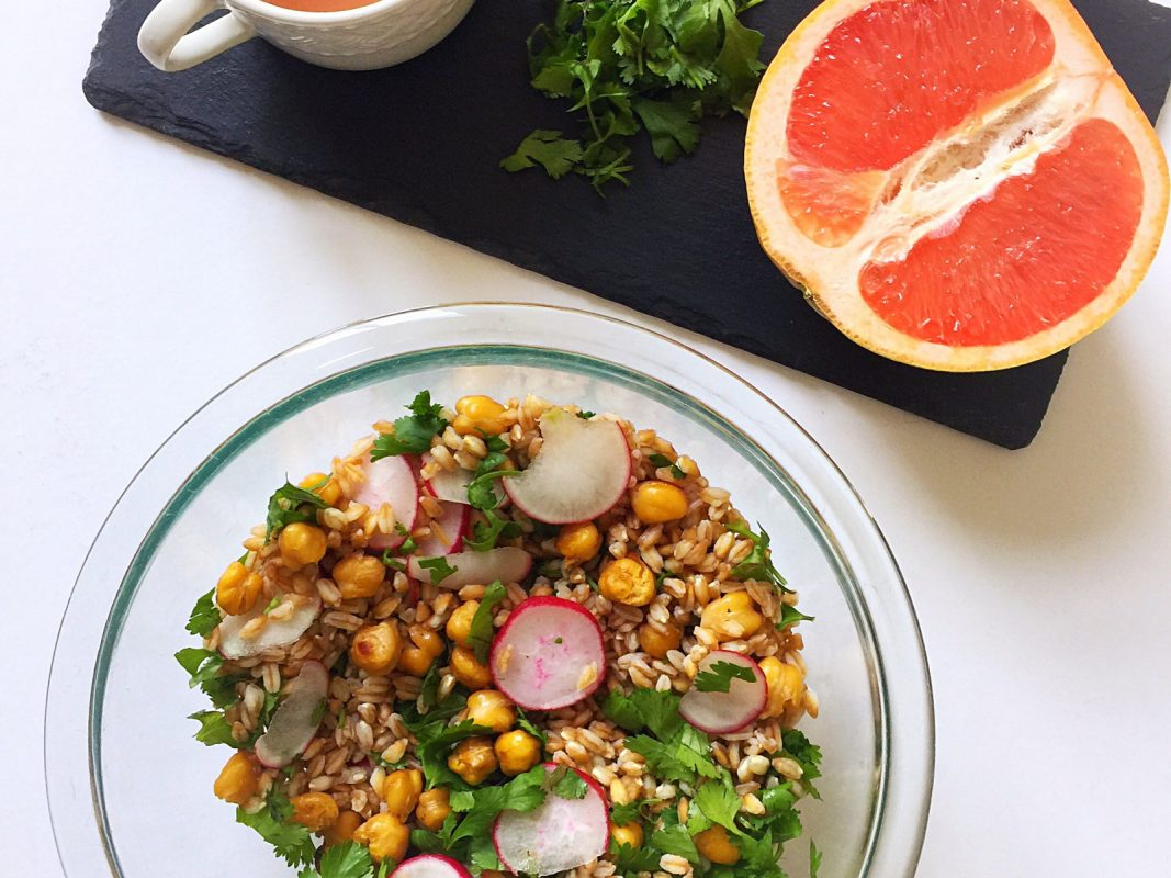 Grapefruit Grain Salad with Roasted Chickpeas