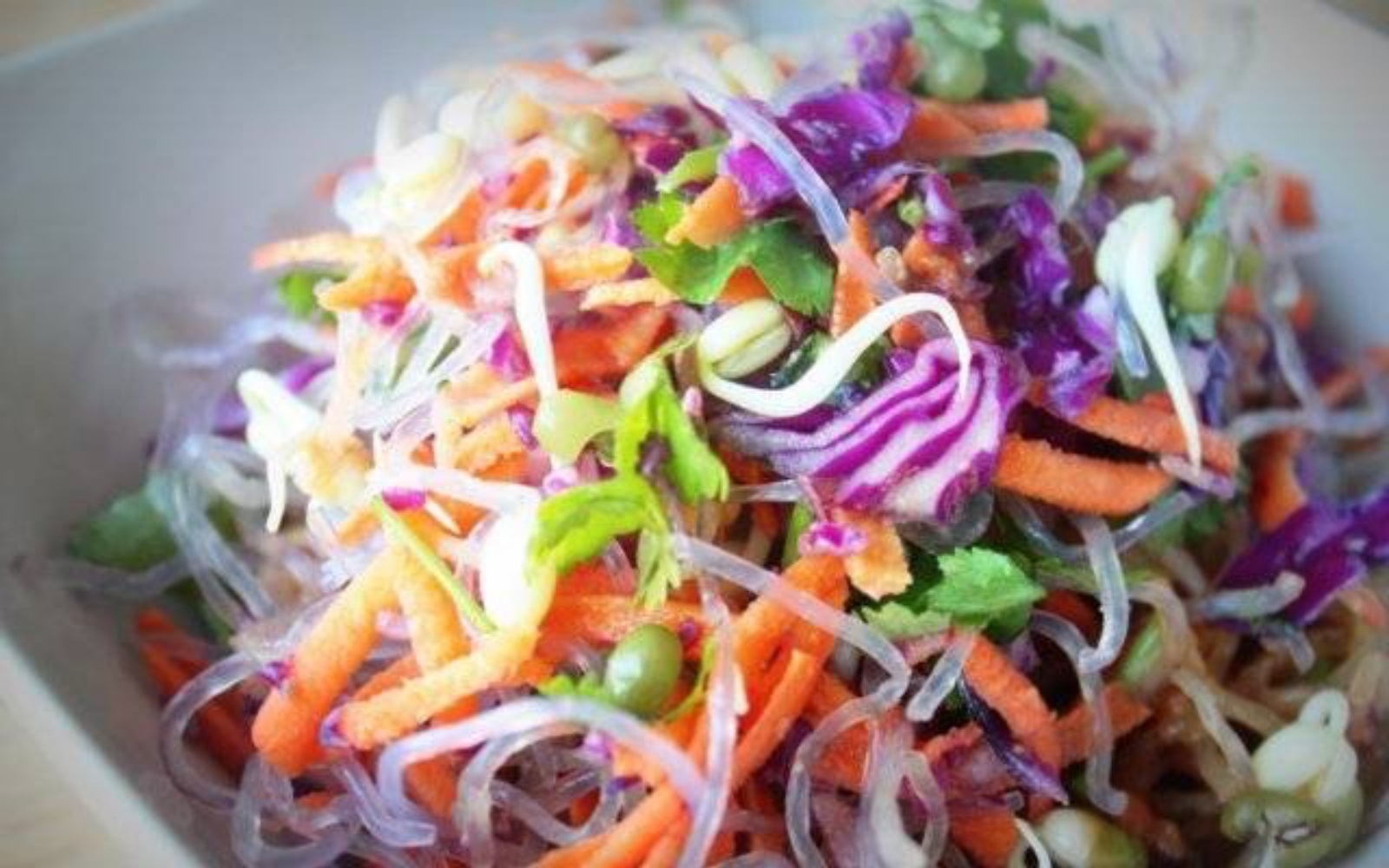 Sweet Potato, Red Cabbage and Kelp Noodles with Miso Dressing