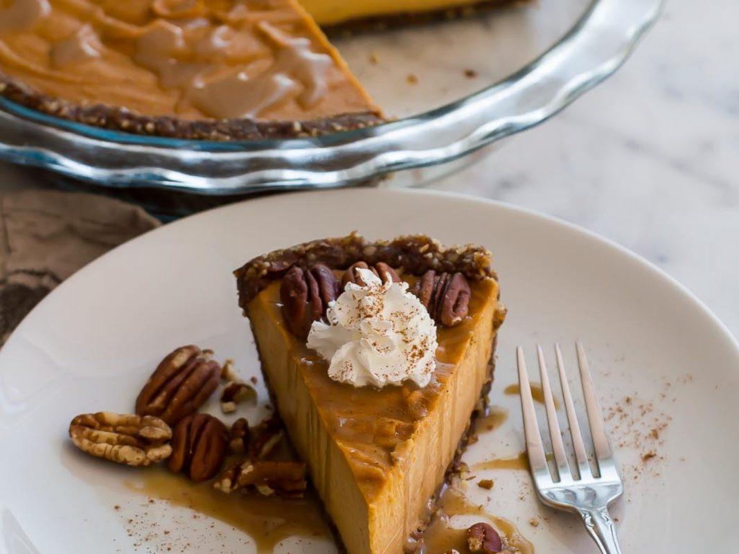 Vegan Sweet Potato Pecan Pie with Salted Bourbon Maple Caramel