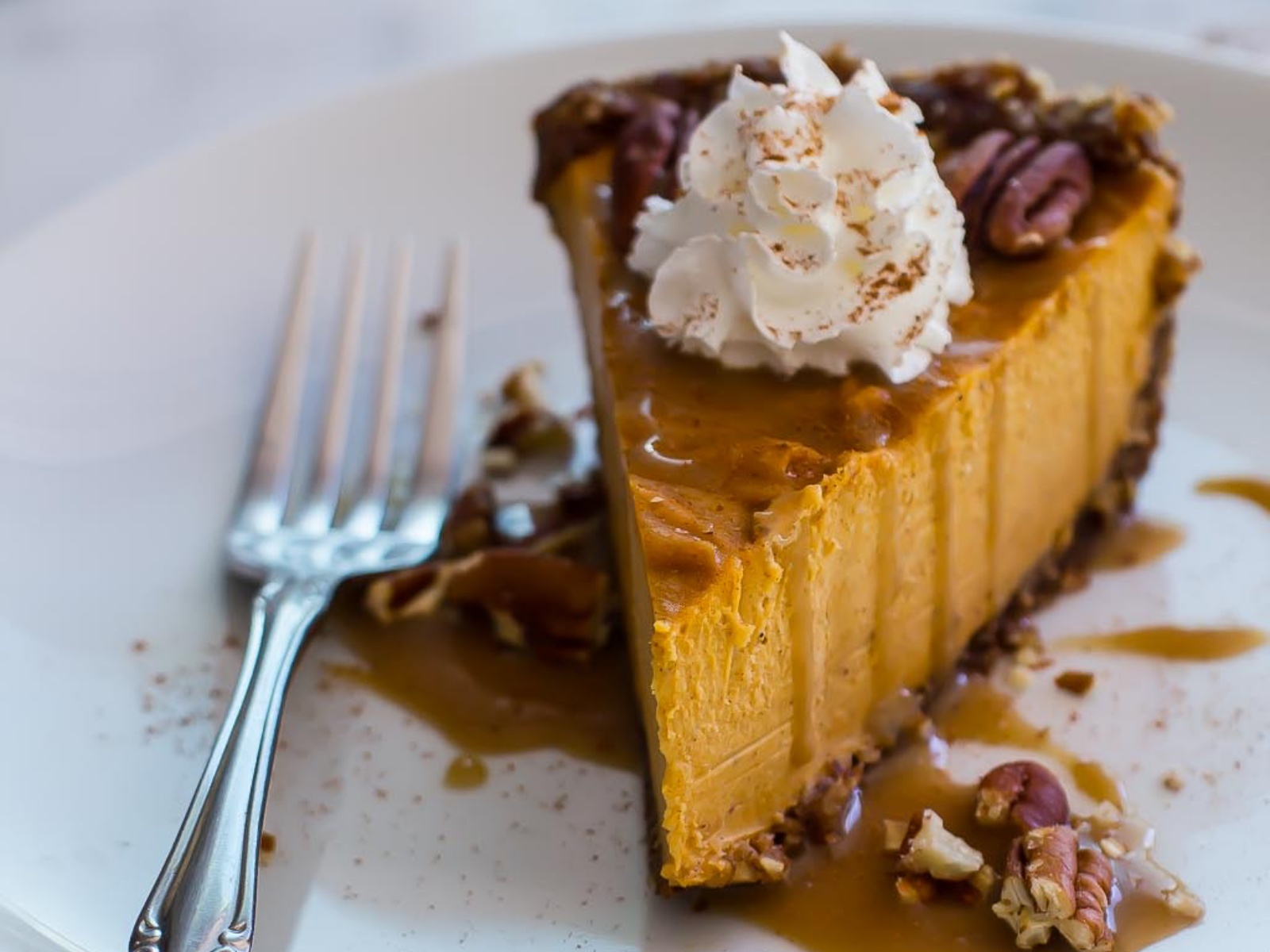 Sweet Potato Pecan Pie with Salted Bourbon Maple Caramel [Vegan, Gluten-Free]