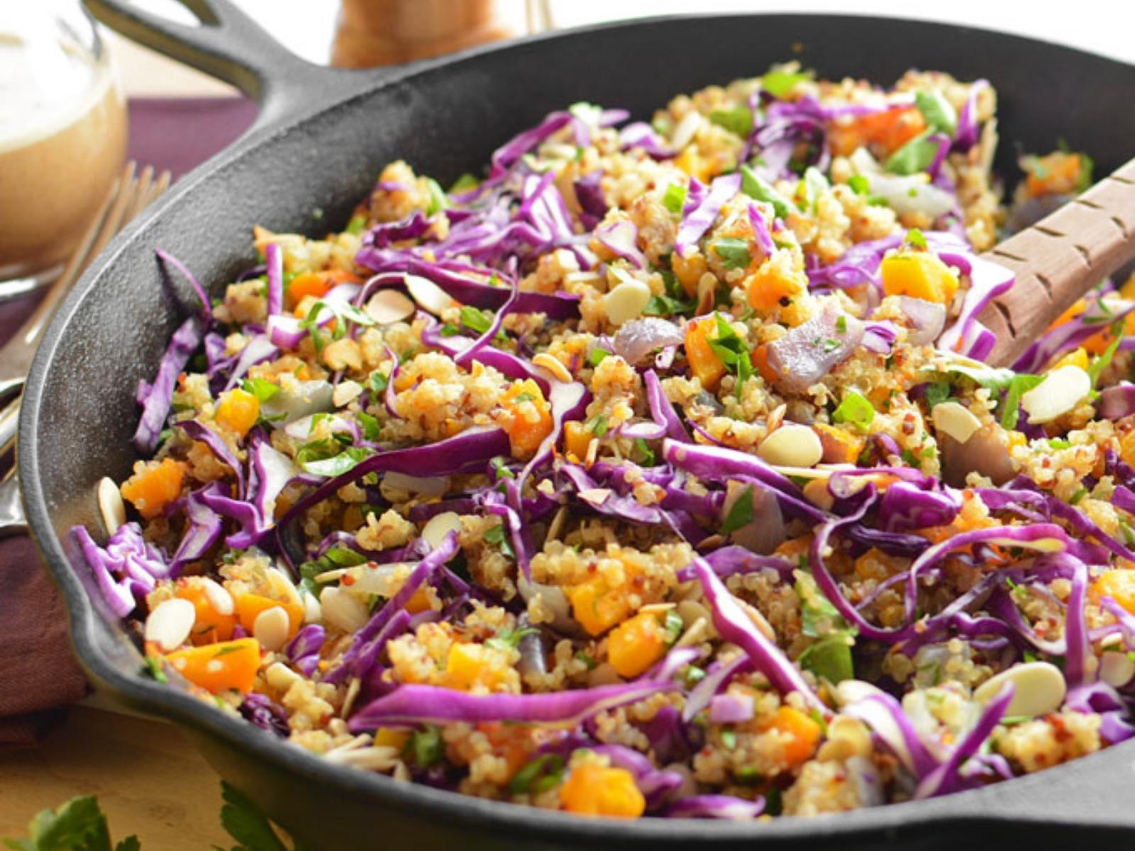 Warm Butternut Squash, Quinoa and Almond Salad